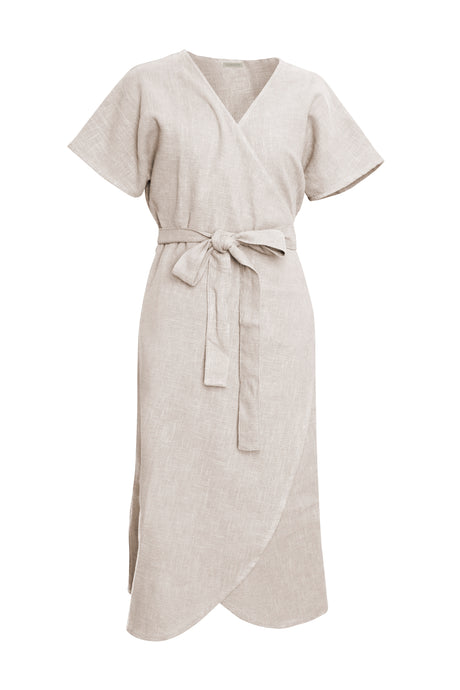 Natural Linen Wrap Dress
