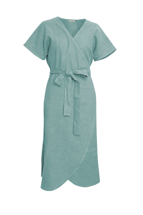 Sea Foam Linen Wrap Dress