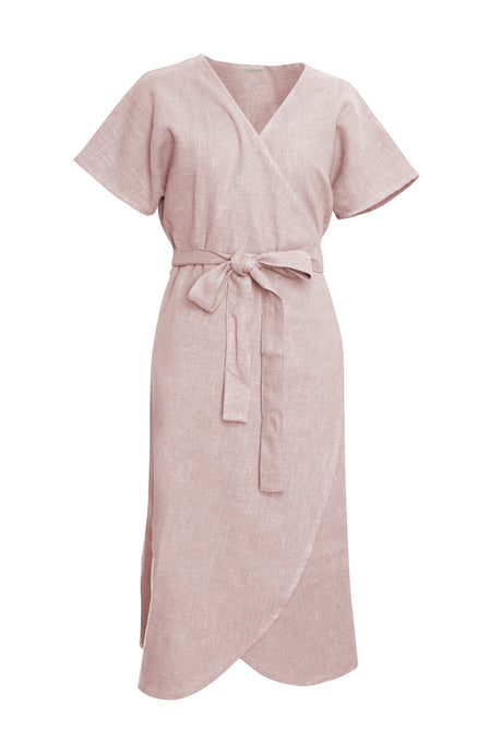 Blush Linen Wrap Dress