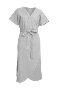 GIANNETTI SILVER LINEN WRAP DRESS