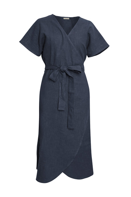 Indigo Linen Wrap Dress