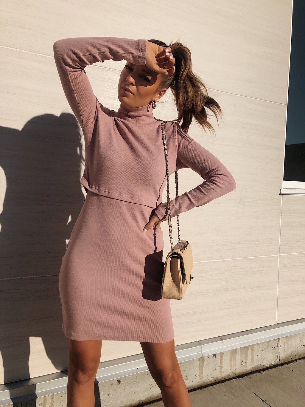 AS IF TURTLENECK DRESS - PINK