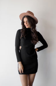 AS IF TURTLENECK DRESS - BLACK
