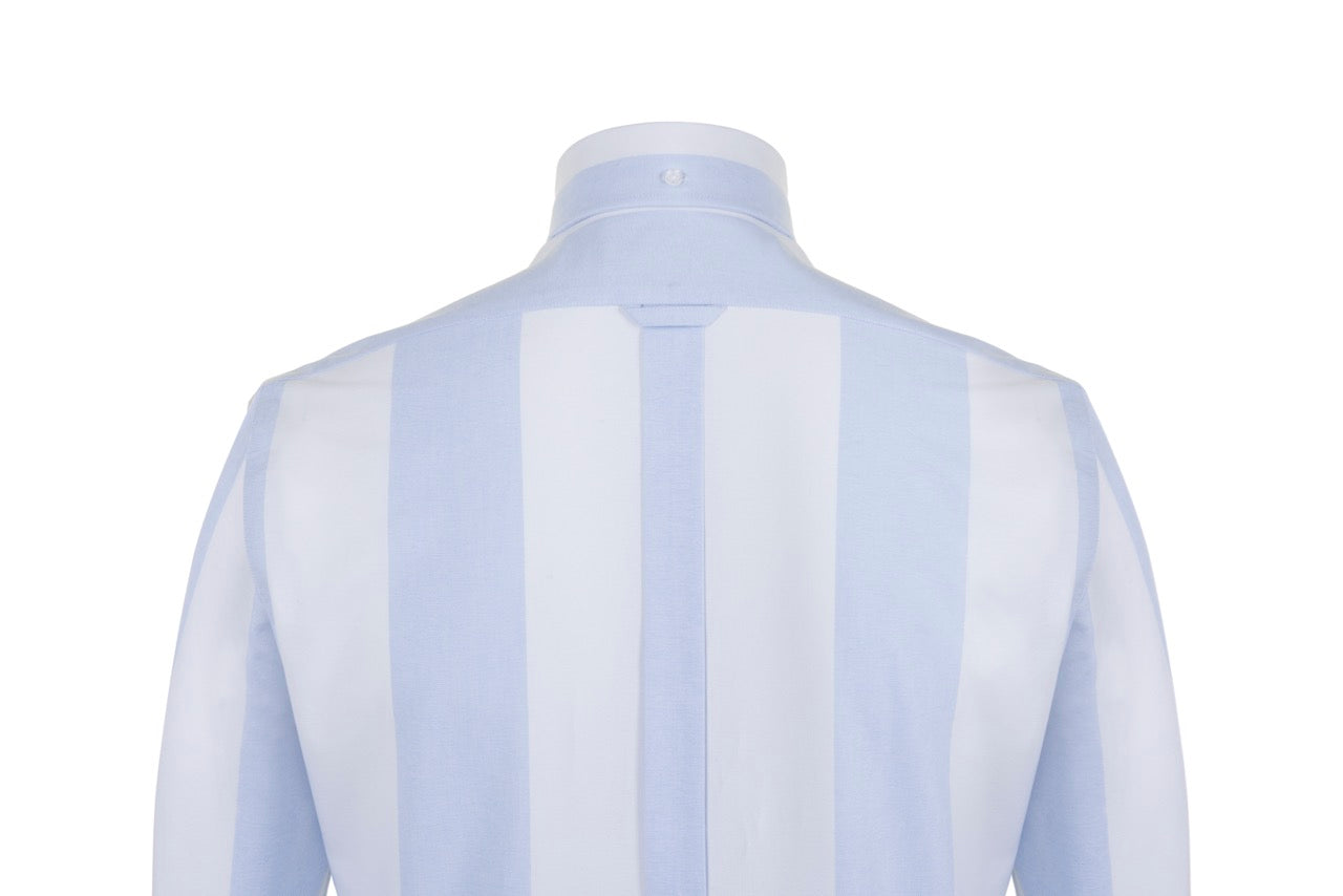 White And Sky Blue Broad Stripe Oxford Cotton Button Down Shirt, Long Sleeve