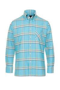 Turquoise Plaid Oxford Cotton Button Down Shirt, Long Sleeve