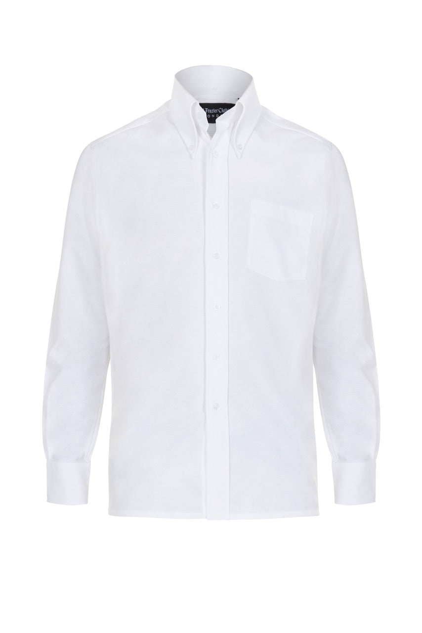 White Oxford Cotton Button Down Shirt, Long Sleeve