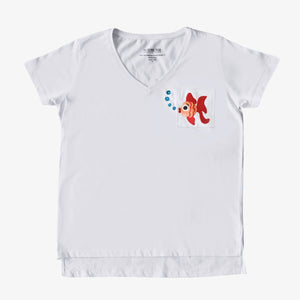 Ruby The Fish Adult Hand Embroidered T-Shirt Women