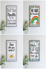 Hawaiian proverbs or memos framed with colorful flower border white background black lettering.  Beautiful to frame.