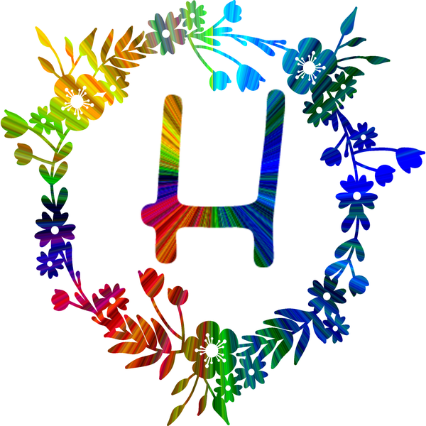Rainbow color monogram - H