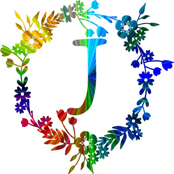 Rainbow color monogram - J