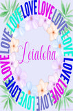 Leialoha - Wreath of Love Personalized Wall Art with matching notes printable