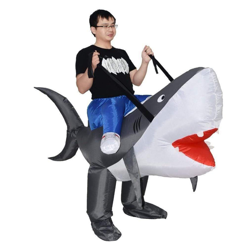 Costume Monture Grand Requin Blanc Gonflable