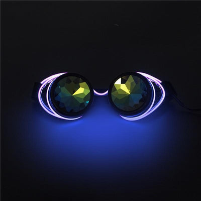 Lunettes Kaléidoscope Steampunk Lumineuses LED Violet
