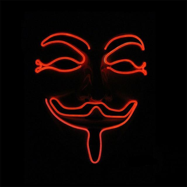 Masque à LED Guy Fawkes V Pour Vendetta Rouge