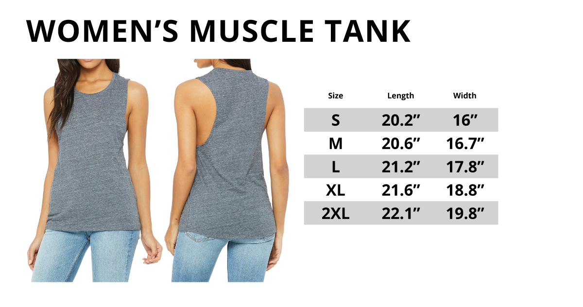 Women's Muscle Tank Top Sizing Chart