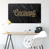 Cincinnati Ohio Wall Flag (Black & Gold)-Allegiant Goods Co.