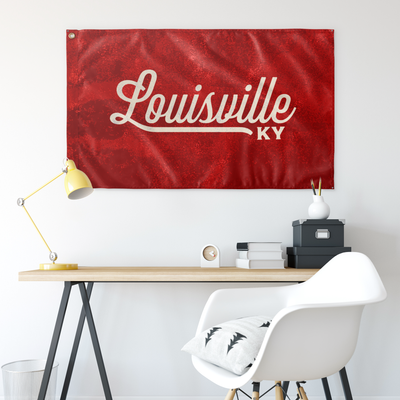 Louisville Kentucky Wall Flag (Red & Off-White)-Allegiant Goods Co.