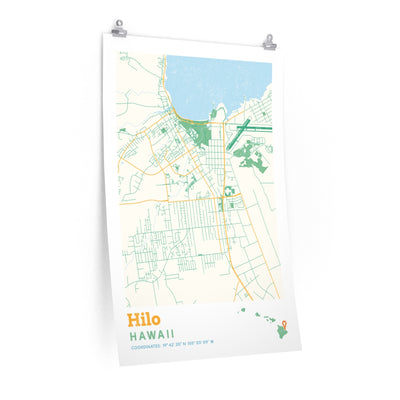 Hilo Hawaii City Street Map Poster-Allegiant Goods Co.