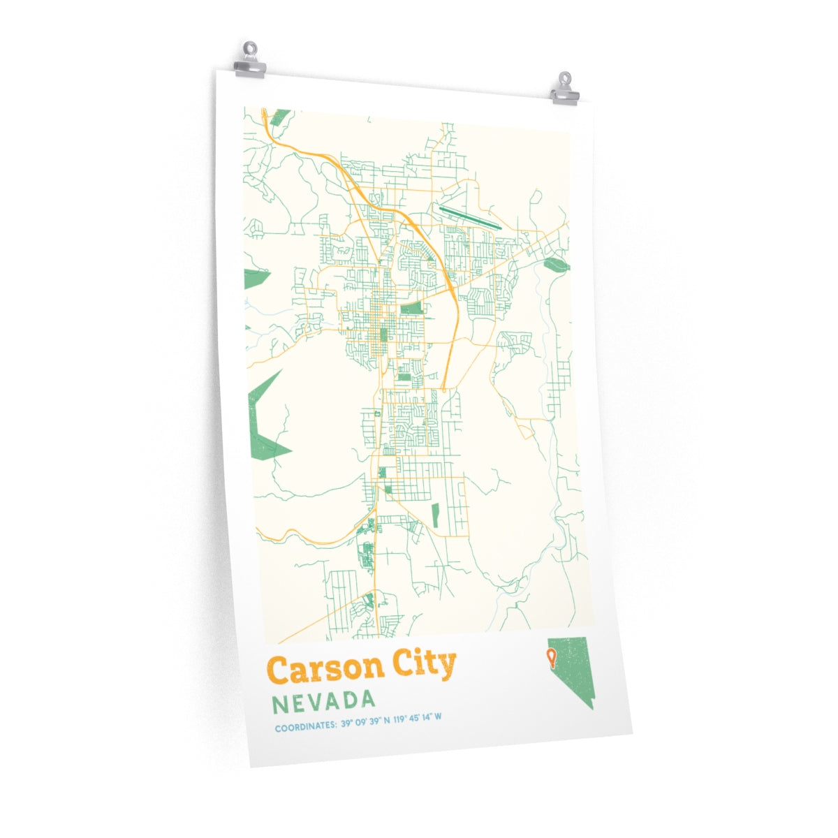 Carson City Nevada City Street Map Poster - Allegiant Goods Co. on