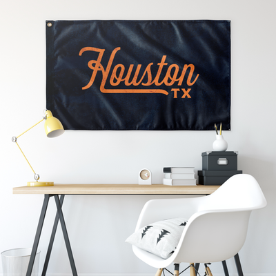 Houston Texas Wall Flag (Blue & Orange)-Allegiant Goods Co.