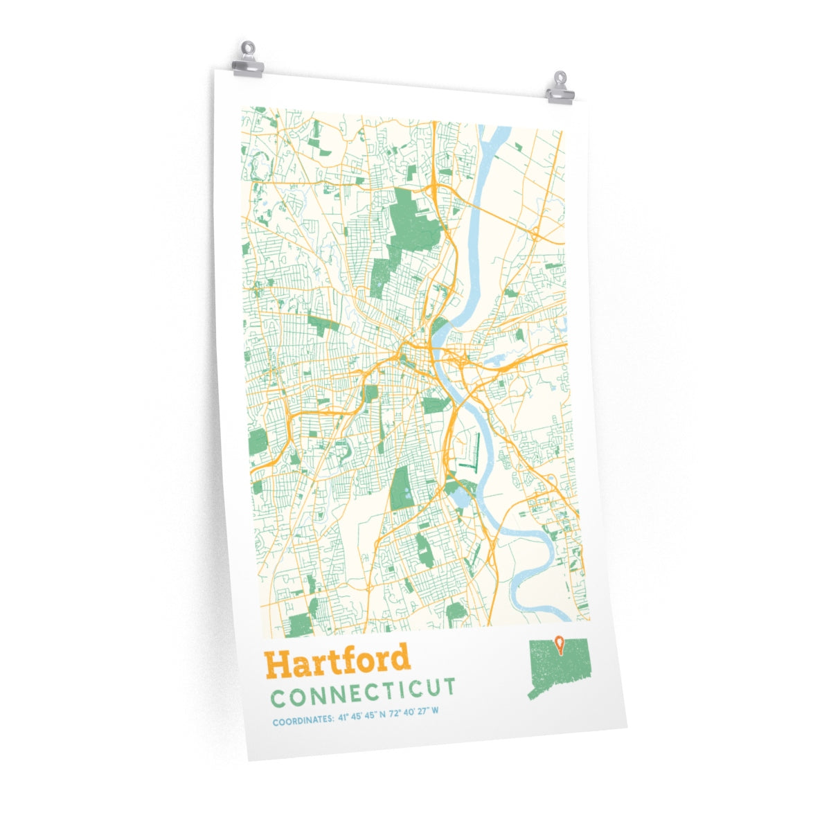 Hartford Connecticut City Street Map Poster - Allegiant Goods Co.