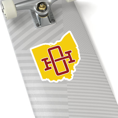 Ohio Home State Sticker (Maroon & Yellow)