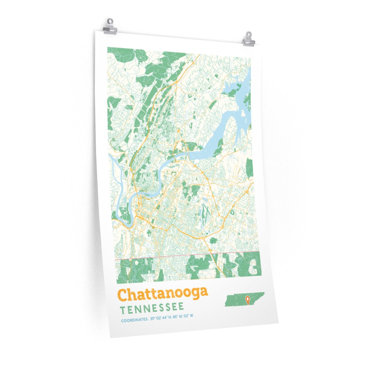 Chattanooga Tennessee City Street Map Poster - Allegiant Goods Co. on