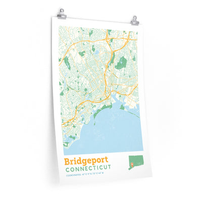 Bridgeport Connecticut City Street Map Poster