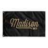 Madison Wisconsin Wall flag (Black & Gold)-Allegiant Goods Co.