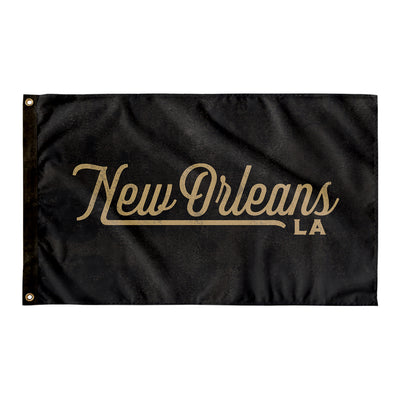 New Orleans Louisiana Wall Flag (Black & Gold)-Allegiant Goods Co.