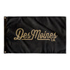 Des Moines Iowa Wall Flag (Black & Gold)-Allegiant Goods Co.