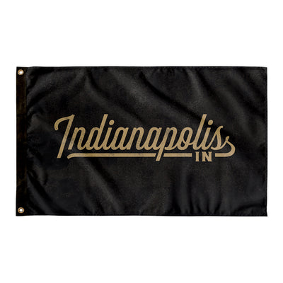Indianapolis Indiana Wall Flag (Black & Gold)-Allegiant Goods Co.