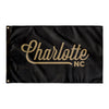 Charlotte North Carolina Wall Flag (Black & Gold)-Allegiant Goods Co.