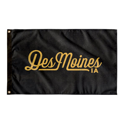 Des Moines Iowa Wall Flag (Black & Yellow)-Allegiant Goods Co.