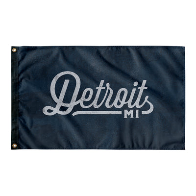 Detroit Michigan Wall Flag (Blue & Grey)-Allegiant Goods Co.