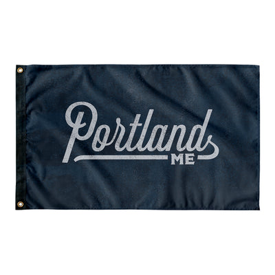 Portland Maine Wall Flag (Blue & Grey)-Allegiant Goods Co.