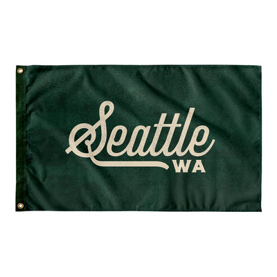 Seattle Washington Wall Flag (Green & Off-White)-Allegiant Goods Co.