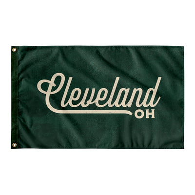 Cleveland Ohio Wall Flag (Green & Off-White)-Allegiant Goods Co.