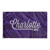 Charlotte North Carolina Wall Flag (Purple & Light Grey)-Allegiant Goods Co.