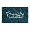 Charlotte North Carolina Wall Flag (Teal & Light Grey)-Allegiant Goods Co.
