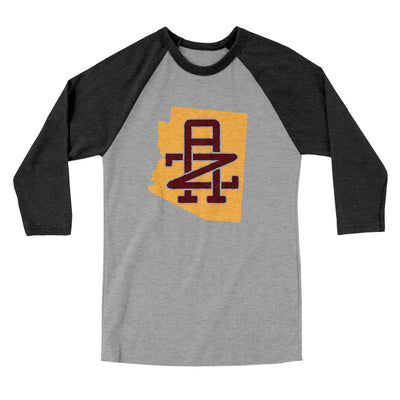Arizona Home State Map Men/Unisex Tri-Blend Baseball T-Shirt-Allegiant Goods Co.