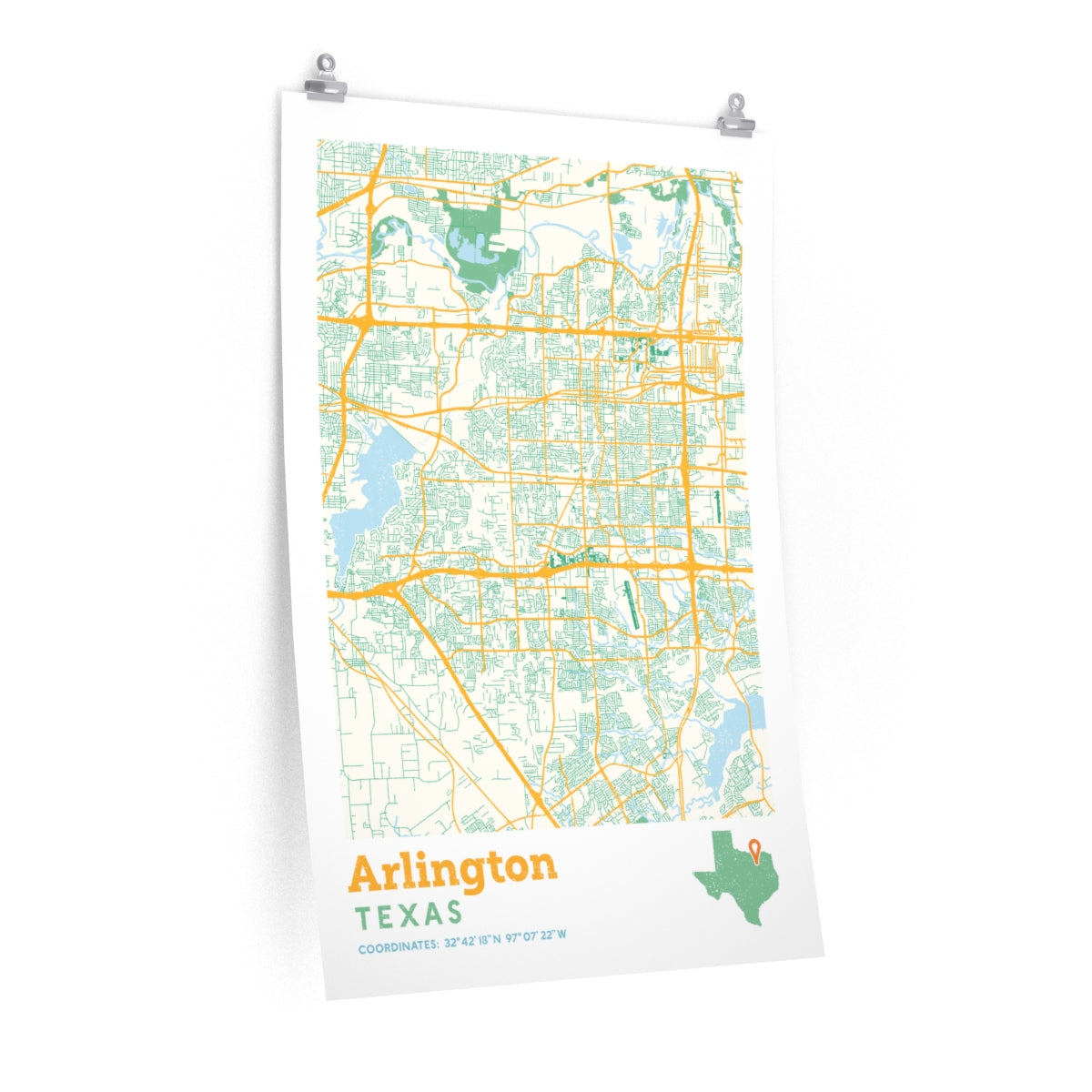 Map Of Arlington Texas.Arlington Texas City Street Map Poster Allegiant Goods Co