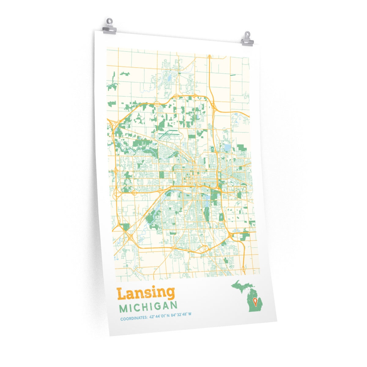 Lansing Michigan City Street Map Poster Allegiant Goods Co