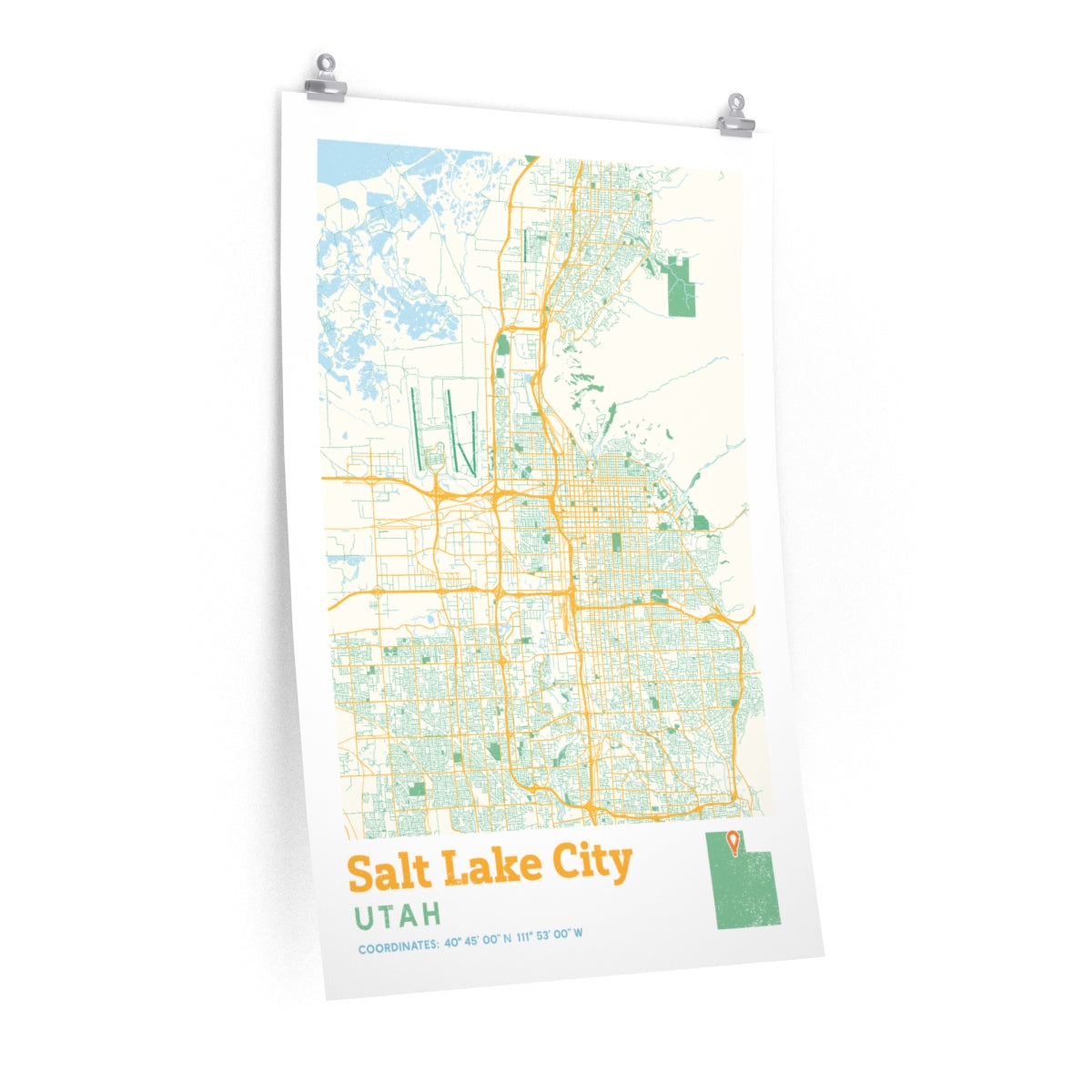 Salt Lake City Utah City Street Map Poster