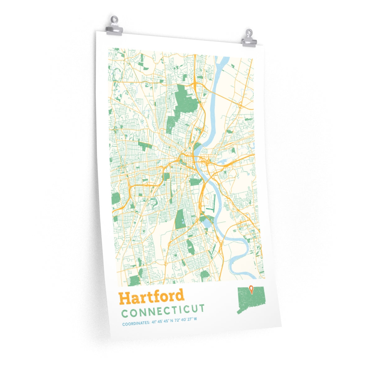Hartford Connecticut City Street Map Poster