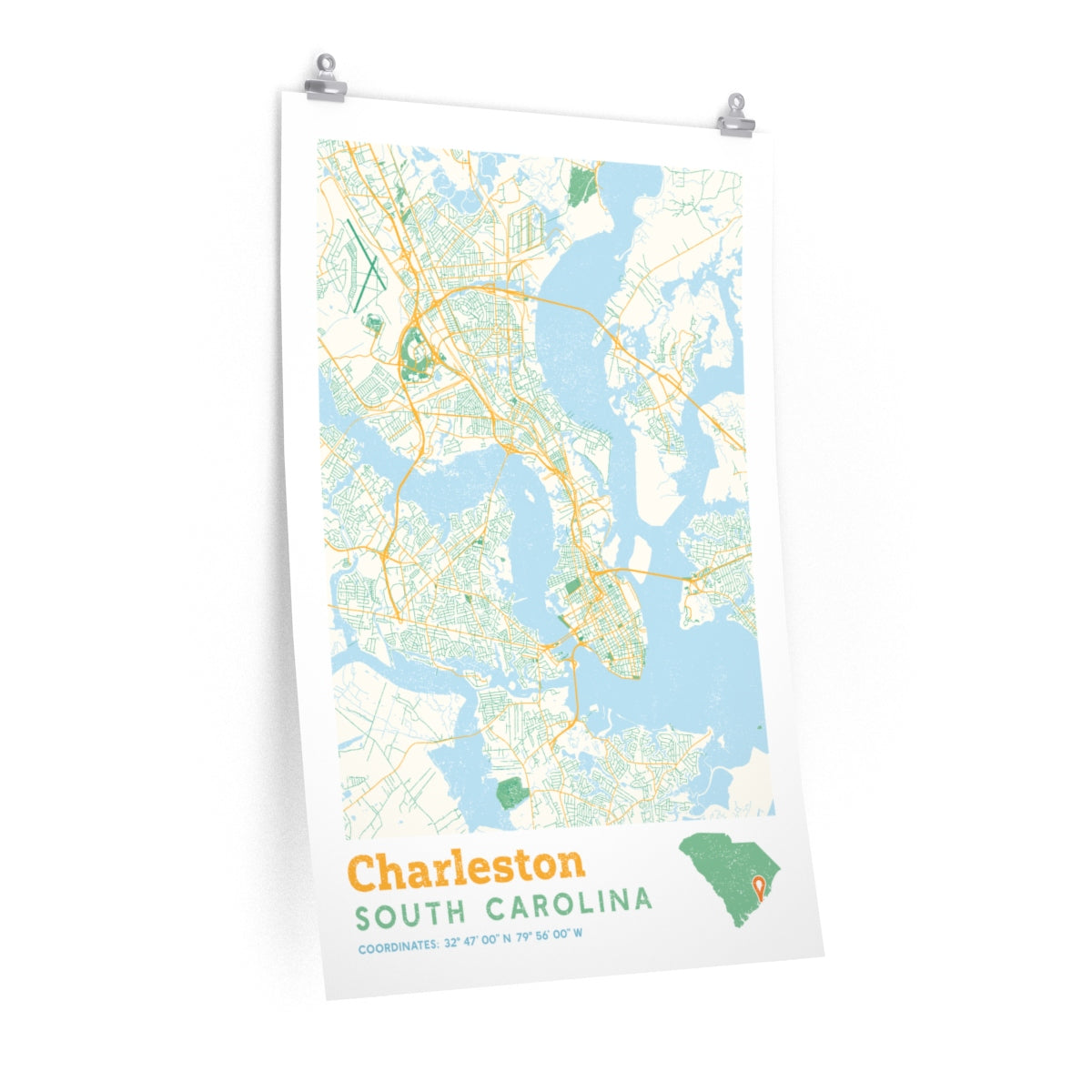 Charleston South Carolina City Street Map Poster Allegiant Goods Co