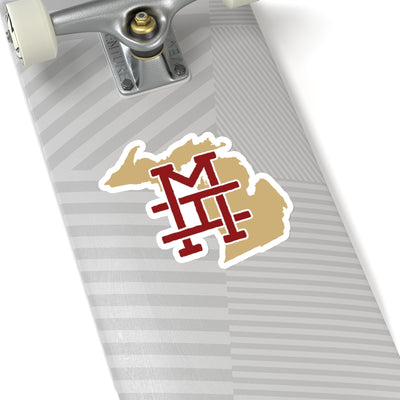 Michigan Home State Sticker (Maroon & Vegas Gold)