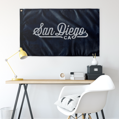 San Diego California Wall Flag (Blue & Grey)-Allegiant Goods Co.