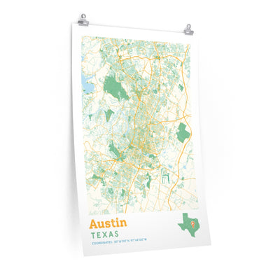 Austin Texas City Street Map Poster-Allegiant Goods Co.