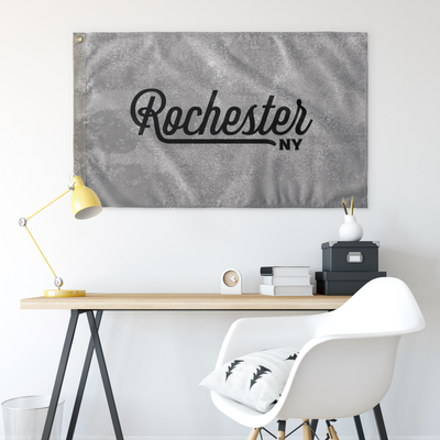 Rochester New York Wall Flag (Grey & Black)-Allegiant Goods Co.